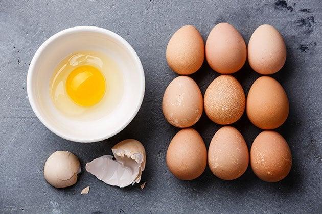 Cracked guinea fowl egg.