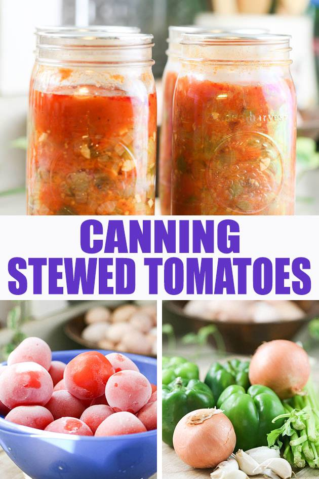 A step by step picture tutorial on canning stewed tomatoes. This is a great way to preserve your summer harvest of tomatoes and other vegetables.  #canningstewedtomatoes #canningtomatoes #howtocanstewedtomatoes #stewedtomatoes