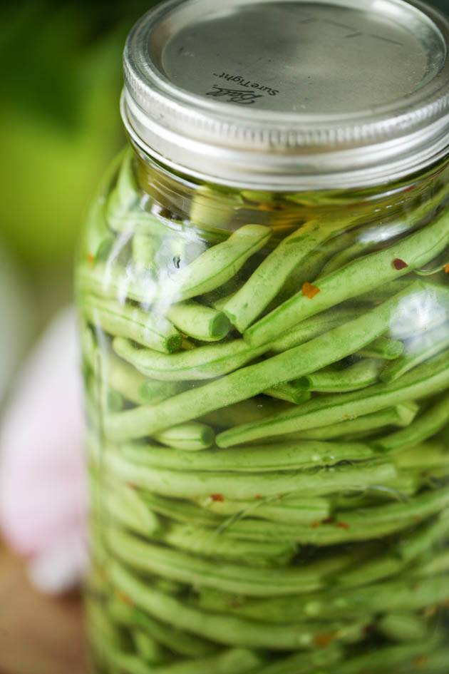 A jar of fermented green beans.
