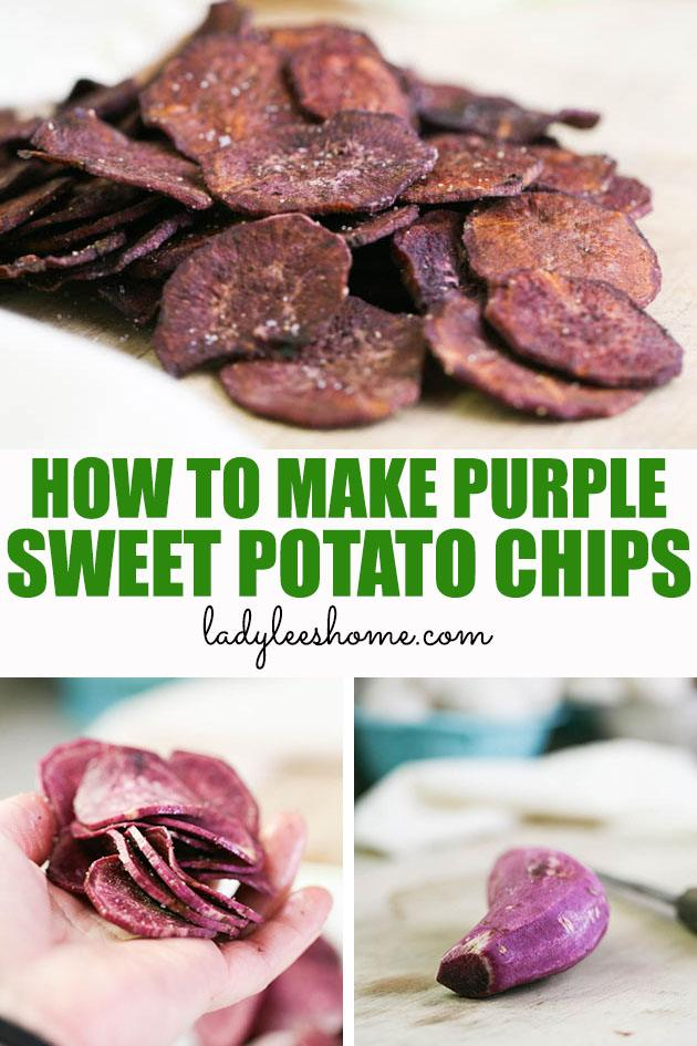 This is a simple recipe for purple sweet potato chips. A great healthy and delicious recipe that is very easy to make. It's a different and fun snack for the whole family!  #purplesweetpotatochips #purplesweetpotatorecipes #purplesweetpotato