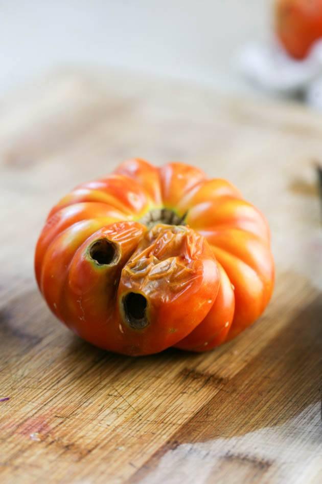 A damaged tomato.