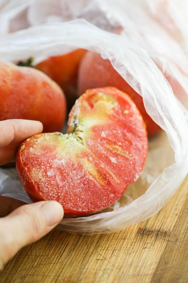 Halved frozen tomato.