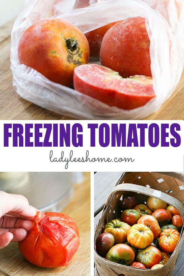 Learn how to freeze tomatoes! Freezing tomatoes is so easy, it can save you time, and a lot of work later. You can cook with frozen tomatoes or you can process them later... #freezingtomatoes #howtofreezetomatoes #preservingtomatoes #growingtomatoes
