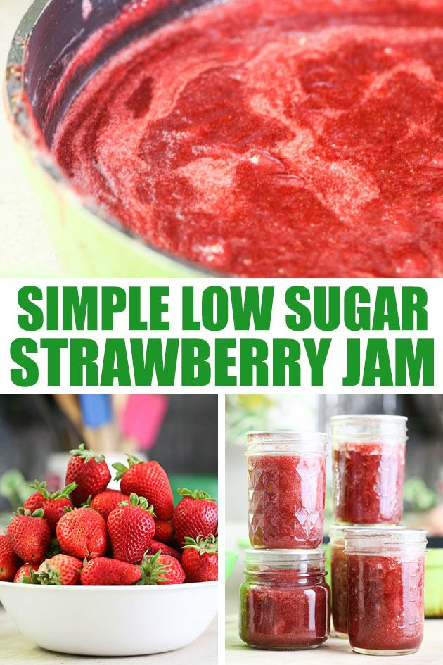 This is a step by step tutorial and a recipe for a low sugar strawberry jam. It's so easy to make, no store-bought pectin and much less sugar than traditional strawberry jam.  #lowsugarstrawberryjam #strawberryjam #strawberryjamrecipe