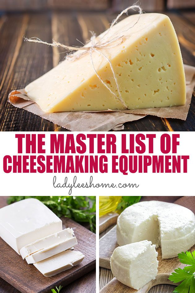 Do you want to make cheese at home? Get ready by haveing the right cheesemaking equipment on hand! Here is a master list of cheesemaking equipment.  #cheesemakingequipment #cheesemaking #howtomakecheese