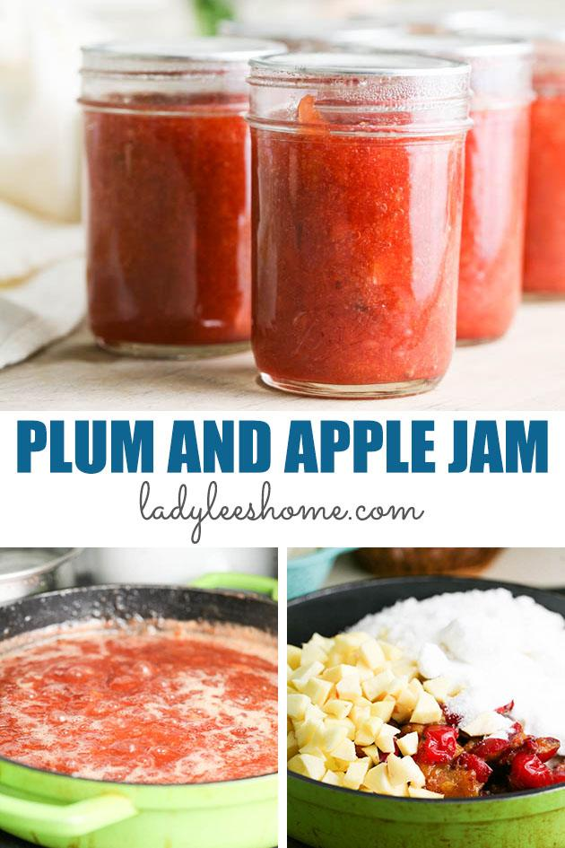 This plum and apple jam recipe is simple and easy to make. It has less sugar and no store-bought pectin. This plum and apple jam is delicious! #plumjam #plumrecipes #applejam #applerecipes #plumandapplejam