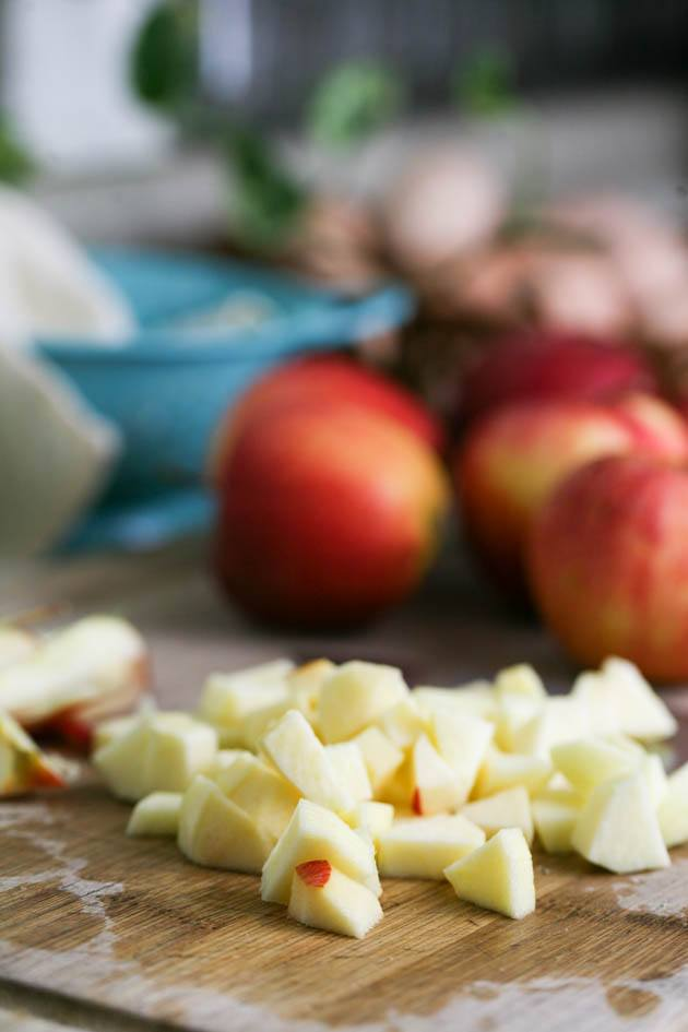 Dicing the apples.