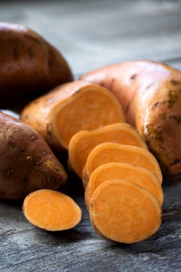 Sliced sweet potatoes.