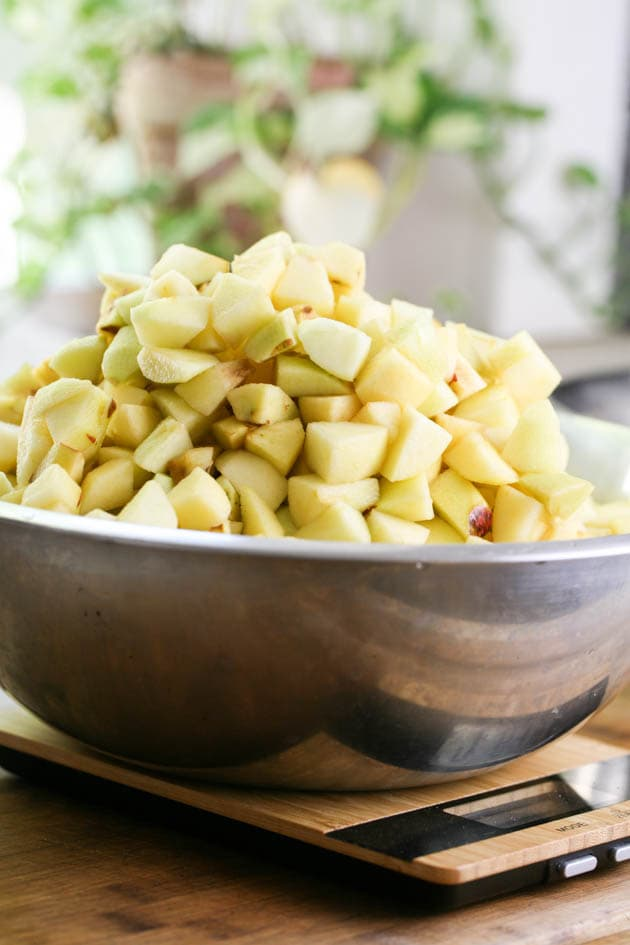 A huge bowl of diced apples.