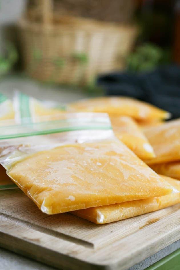 Frozen pumpkin puree in ziplock bags.