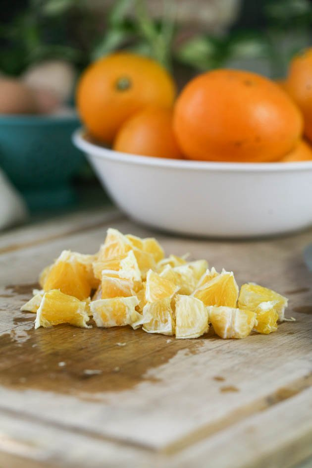 Diced oranges peel and seeds removed.