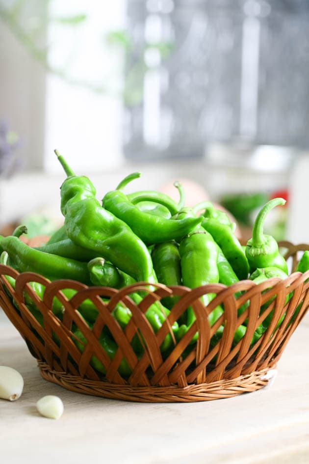 A basket of hot peppers.