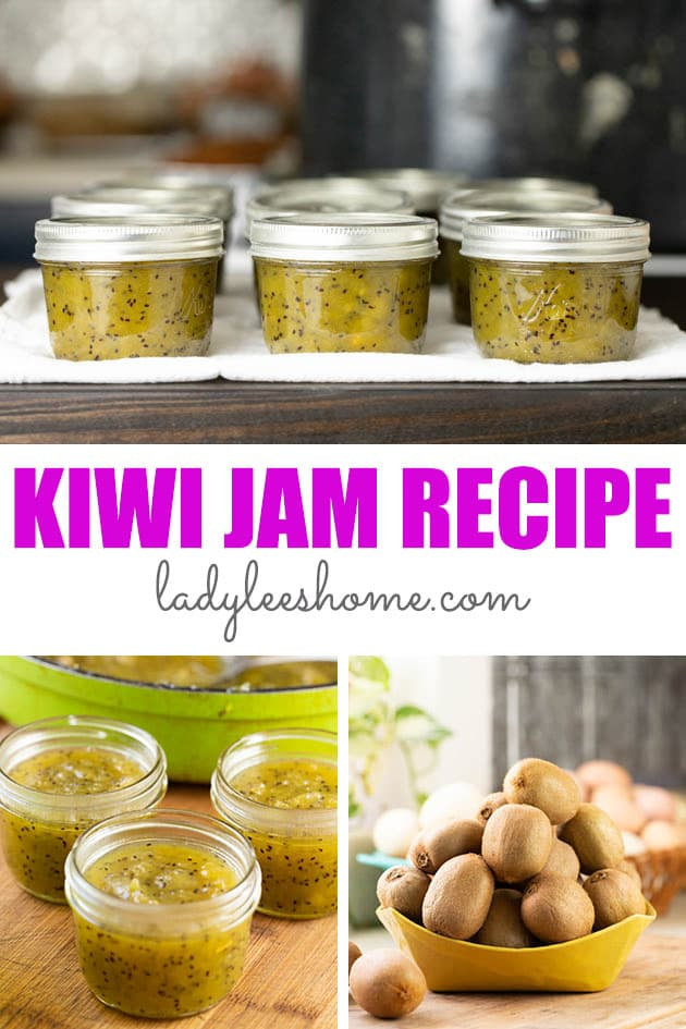 Kiwi jam is simple to make and delicious! This winter time jam is made with less sugar, no store-bought pectin, and lots of ripe kiwis. It's also simple to can and it lasts on the shelf for months.