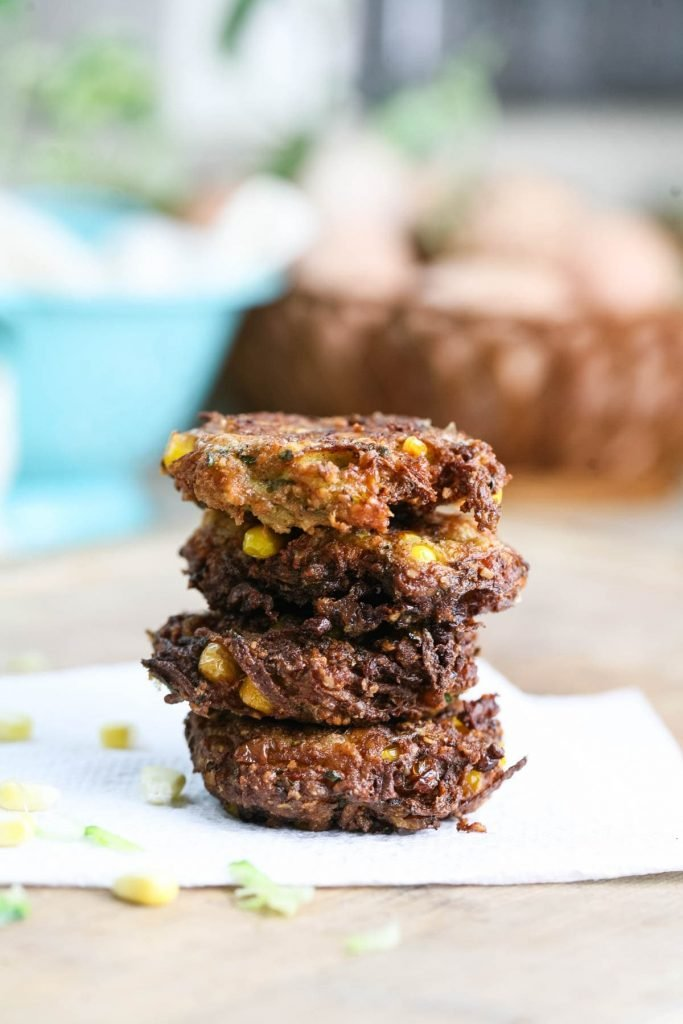 Serving zucchini and corn fritters.