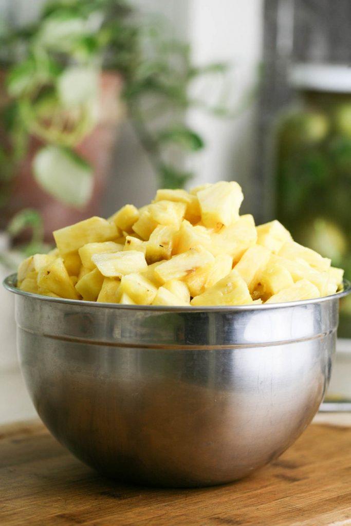 Diced pineapple ready for jam making.