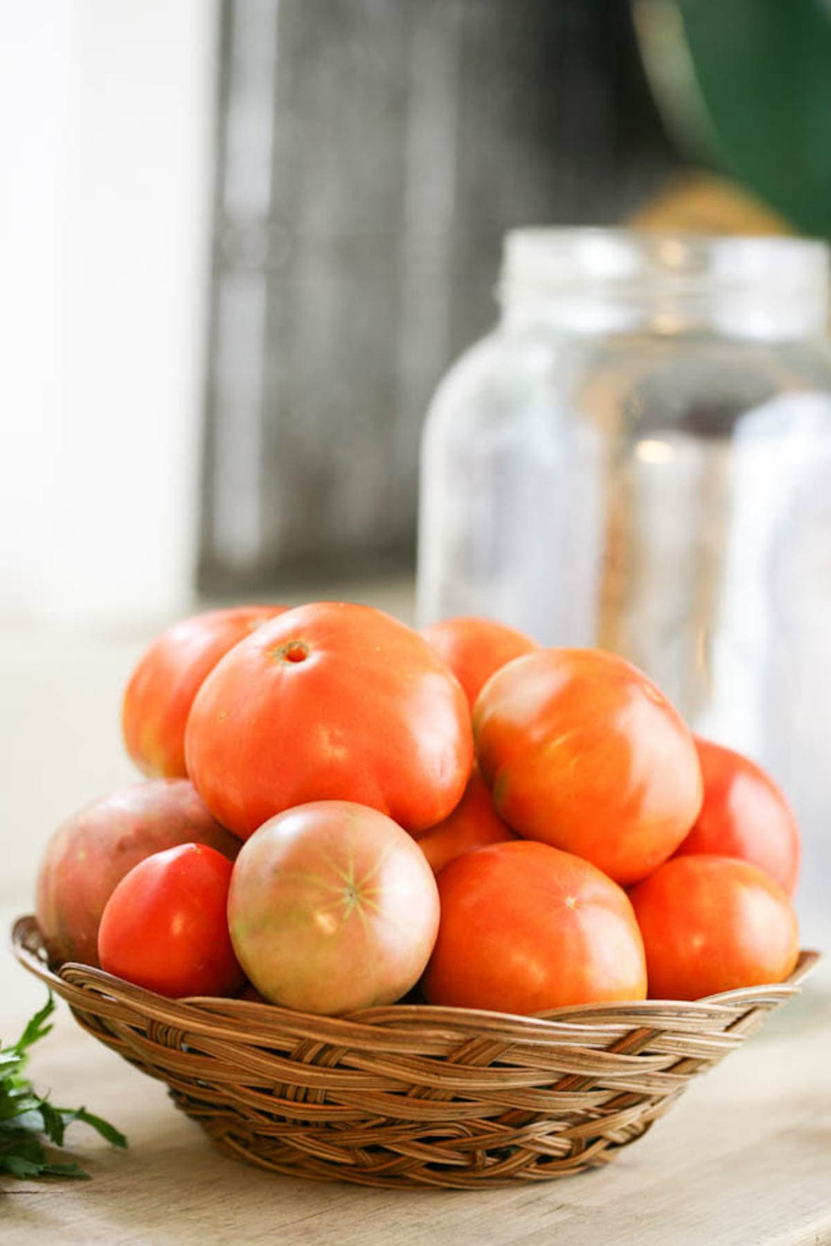 A basket of tomatoes.
