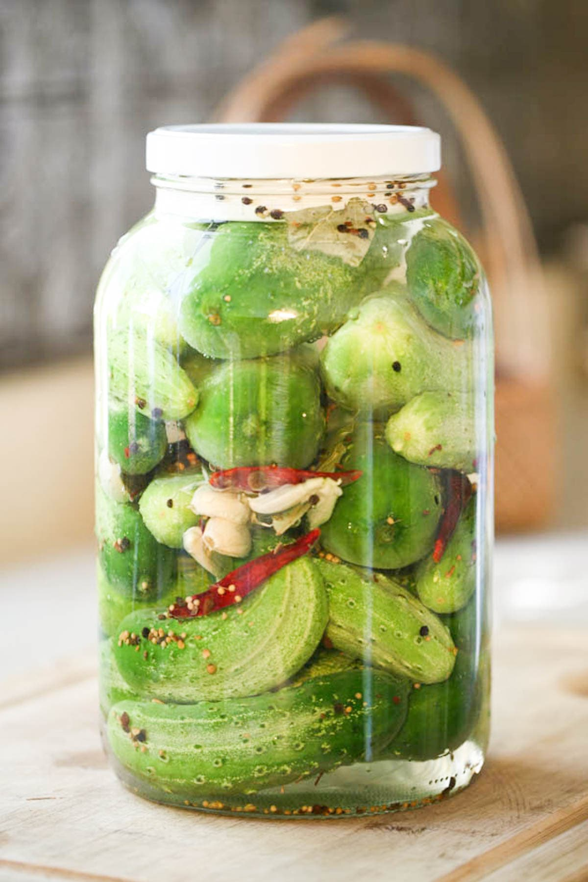 A jar of Israeli pickles or in other words, fermented cucumbers.