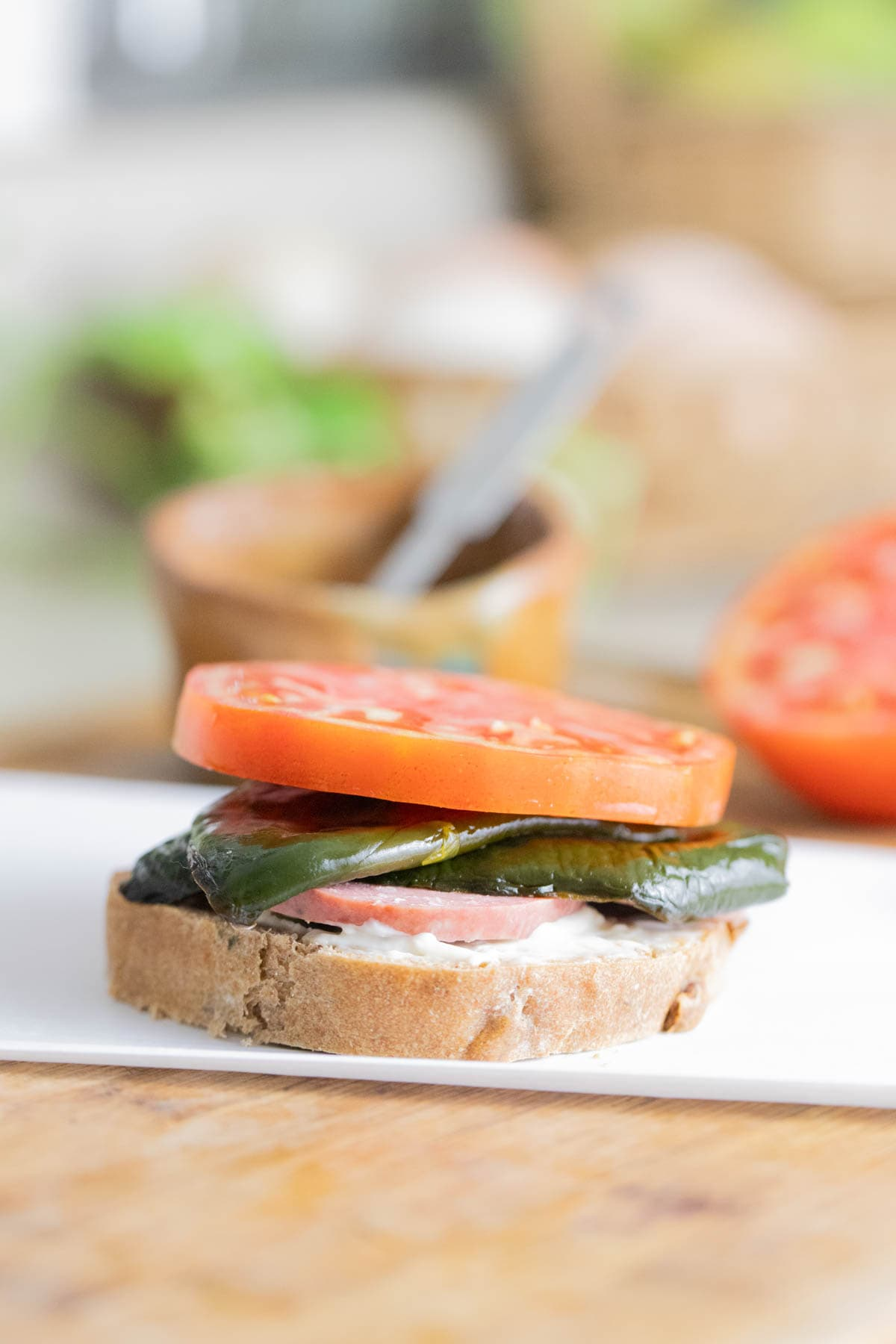 Serving poblano peppers in a sandwich.